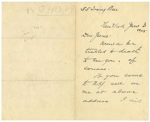 Primary view of object titled '[Handwritten letter from O. Henry to Jeemo]'.