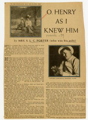 Primary view of object titled 'O. Henry As I Knew Him'.