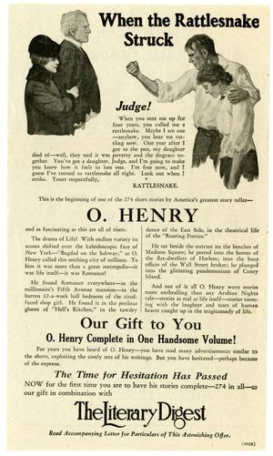 Primary view of object titled 'Advertisement for complete O. Henry collection'.