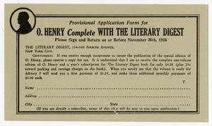 Primary view of object titled 'Advertising postal card for complete O. Henry collection'.
