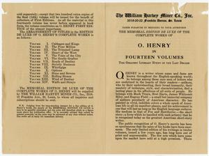 "Primary view of object titled 'Advertisement for ""O. Henry in Fourteen Volumes""'."