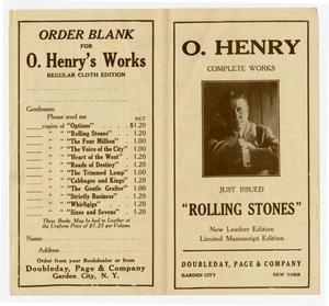 Primary view of object titled 'Order form for Rolling Stones, the last of twelve 12 volumes of O. Henry Complete Works'.