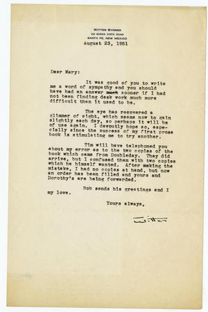 Letter from Witter Bynner to Mary