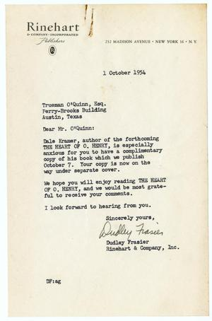 Letter from Dudley Frasier to Trueman O'Quinn