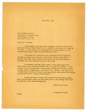 Letter from Trueman O'Quinn to Dudley Frasier