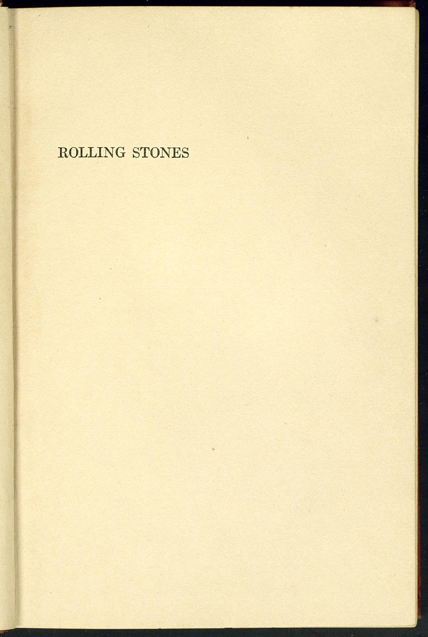 Rolling Stones                                                                                                      Half-Title Page