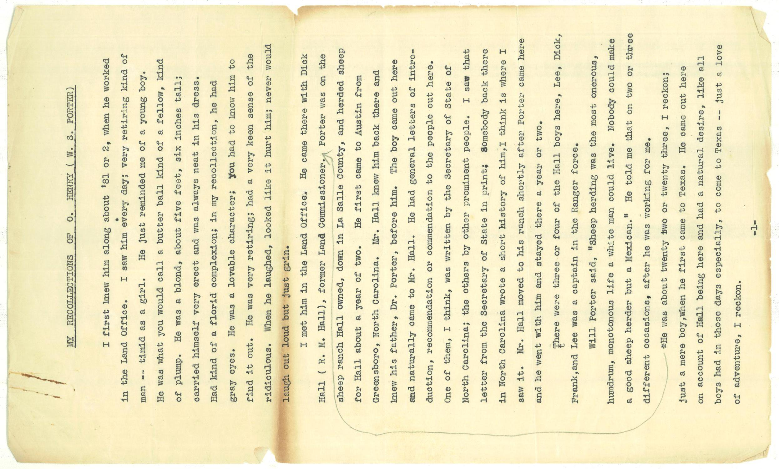 My Recollections of O. Henry (W. S. Porter)                                                                                                      [Sequence #]: 1 of 9