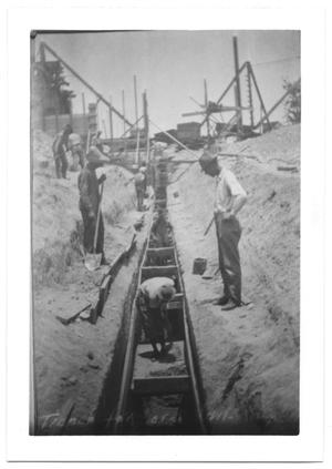 Primary view of object titled '[Construction at White Rock Lake]'.