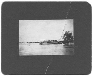 Primary view of object titled '[Boat on Trinity River Flood Waters]'.