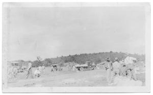 Primary view of object titled '[Filling Sand Bags For Fishtrap Road]'.