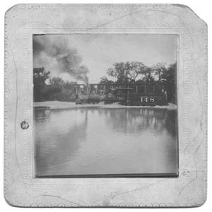 Primary view of object titled '[Flood Waters at Train Crossing at Turtle Creek]'.