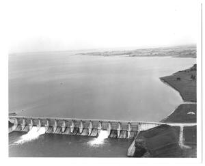 Primary view of object titled '[Aerial Photograph of Dam]'.