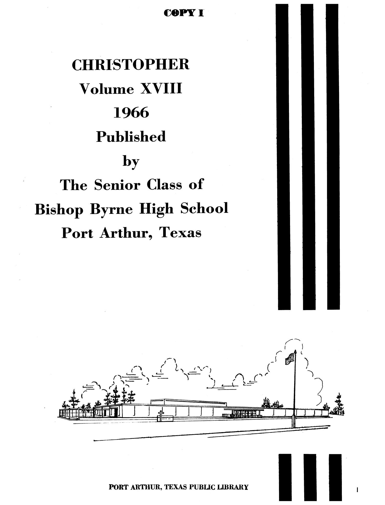 The Christopher, Yearbook of Bishop Byrne High School, 1966                                                                                                      1