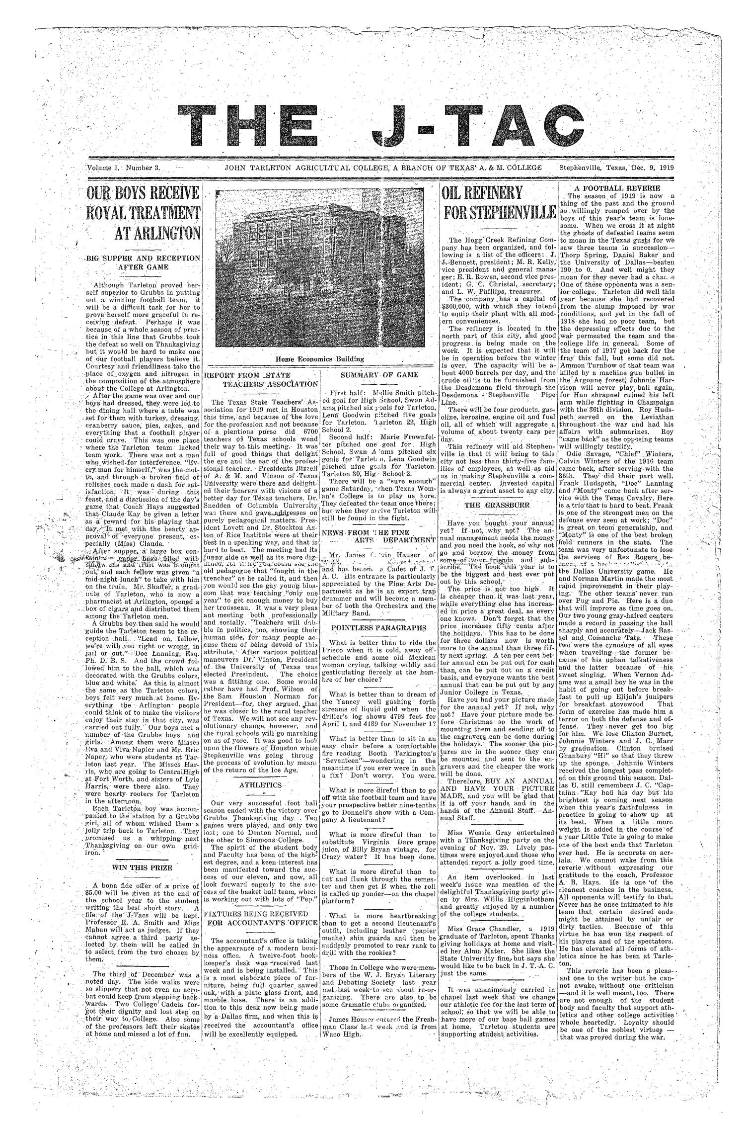The J-TAC (Stephenville, Tex.), Vol. 1, No. 3, Ed. 1 Tuesday, December 9, 1919                                                                                                      [Sequence #]: 1 of 4