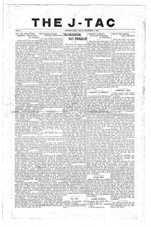 Primary view of The J-TAC (Stephenville, Tex.), Vol. 2, Ed. 1 Wednesday, December 1, 1920