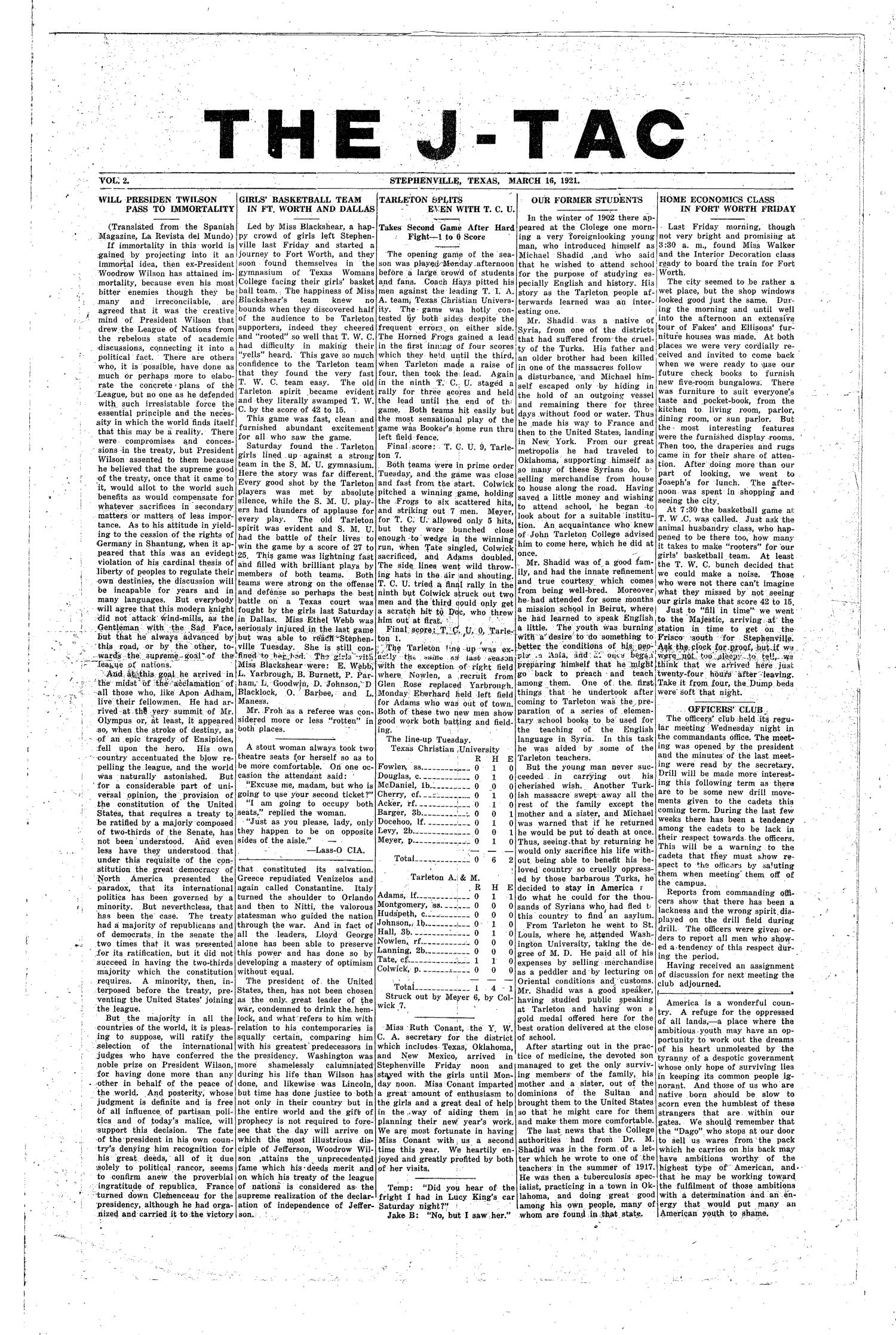 The J-TAC (Stephenville, Tex.), Vol. 2, Ed. 1 Wednesday, March 16, 1921                                                                                                      [Sequence #]: 1 of 4