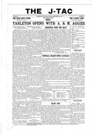 The J-TAC (Stephenville, Tex.), Vol. 5, No. 1, Ed. 1 Friday, September 19, 1924