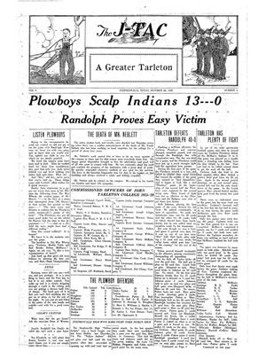 Primary view of The J-TAC (Stephenville, Tex.), Vol. 6, No. 6, Ed. 1 Thursday, October 22, 1925