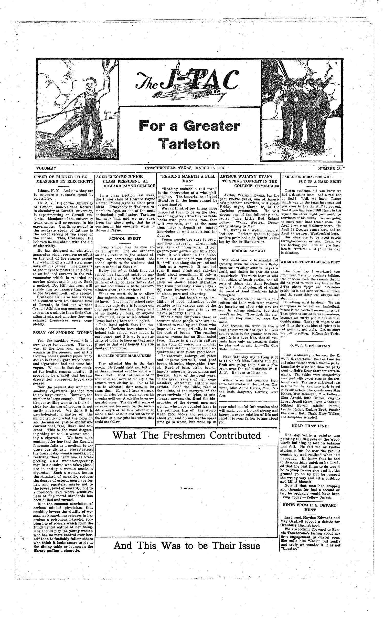 The J-TAC (Stephenville, Tex.), Vol. 7, No. 23, Ed. 1 Friday, March 18, 1927                                                                                                      [Sequence #]: 1 of 4