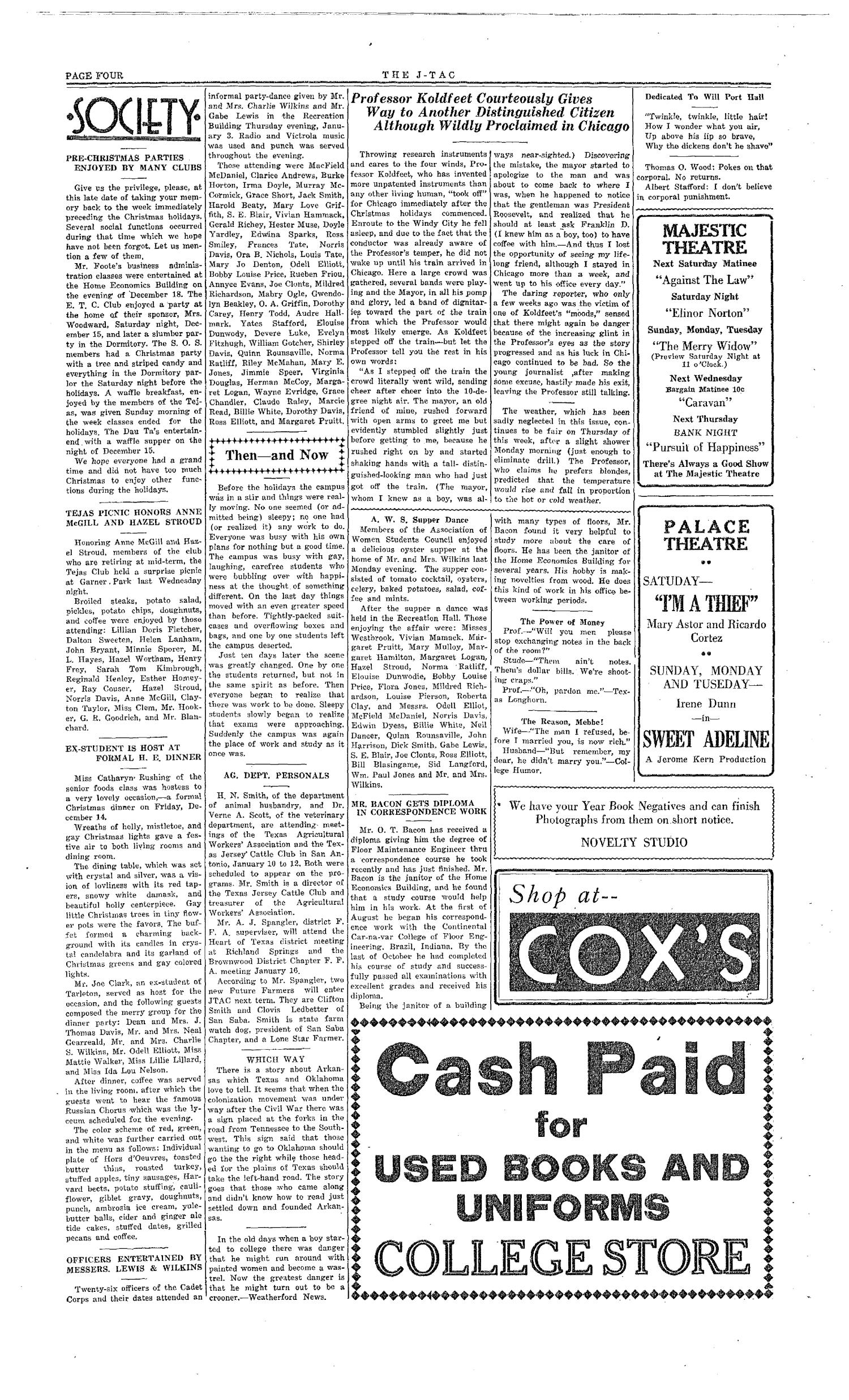 The J-TAC (Stephenville, Tex.), Vol. 15, No. 12, Ed. 1 Saturday, January 12, 1935                                                                                                      [Sequence #]: 4 of 4