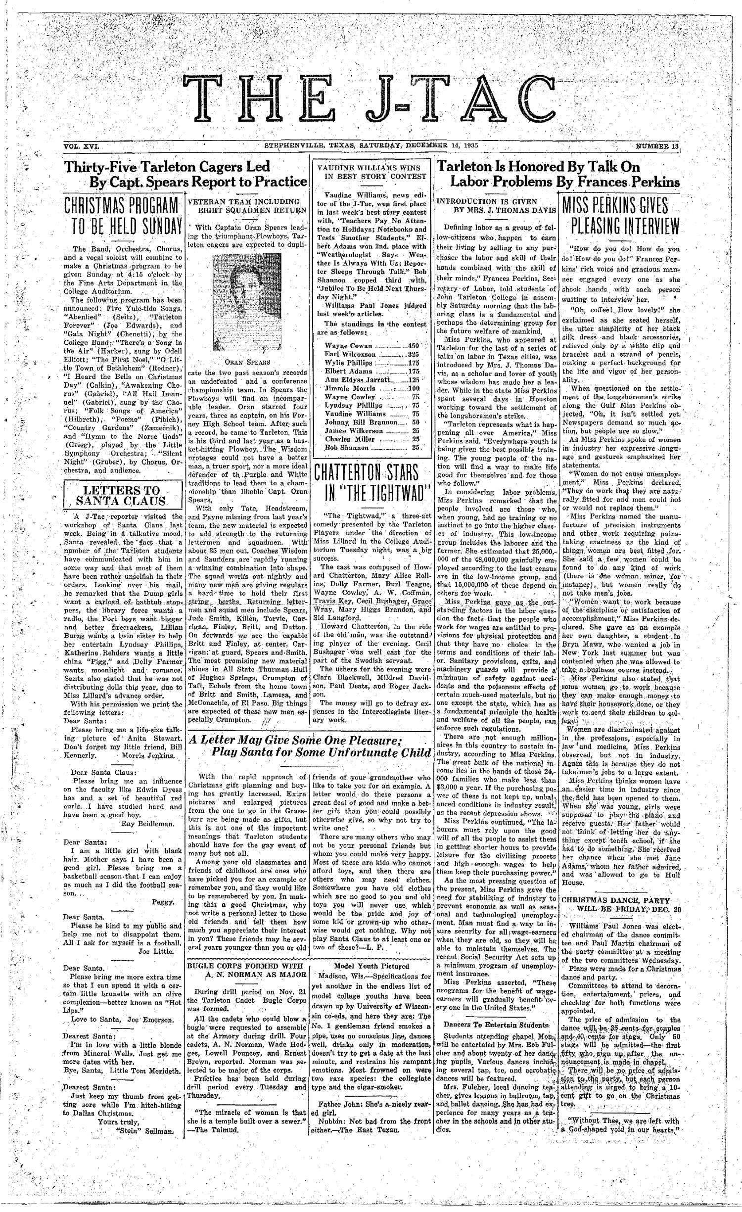 The J-TAC (Stephenville, Tex.), Vol. 16, No. 13, Ed. 1 Saturday, December 14, 1935                                                                                                      [Sequence #]: 1 of 4