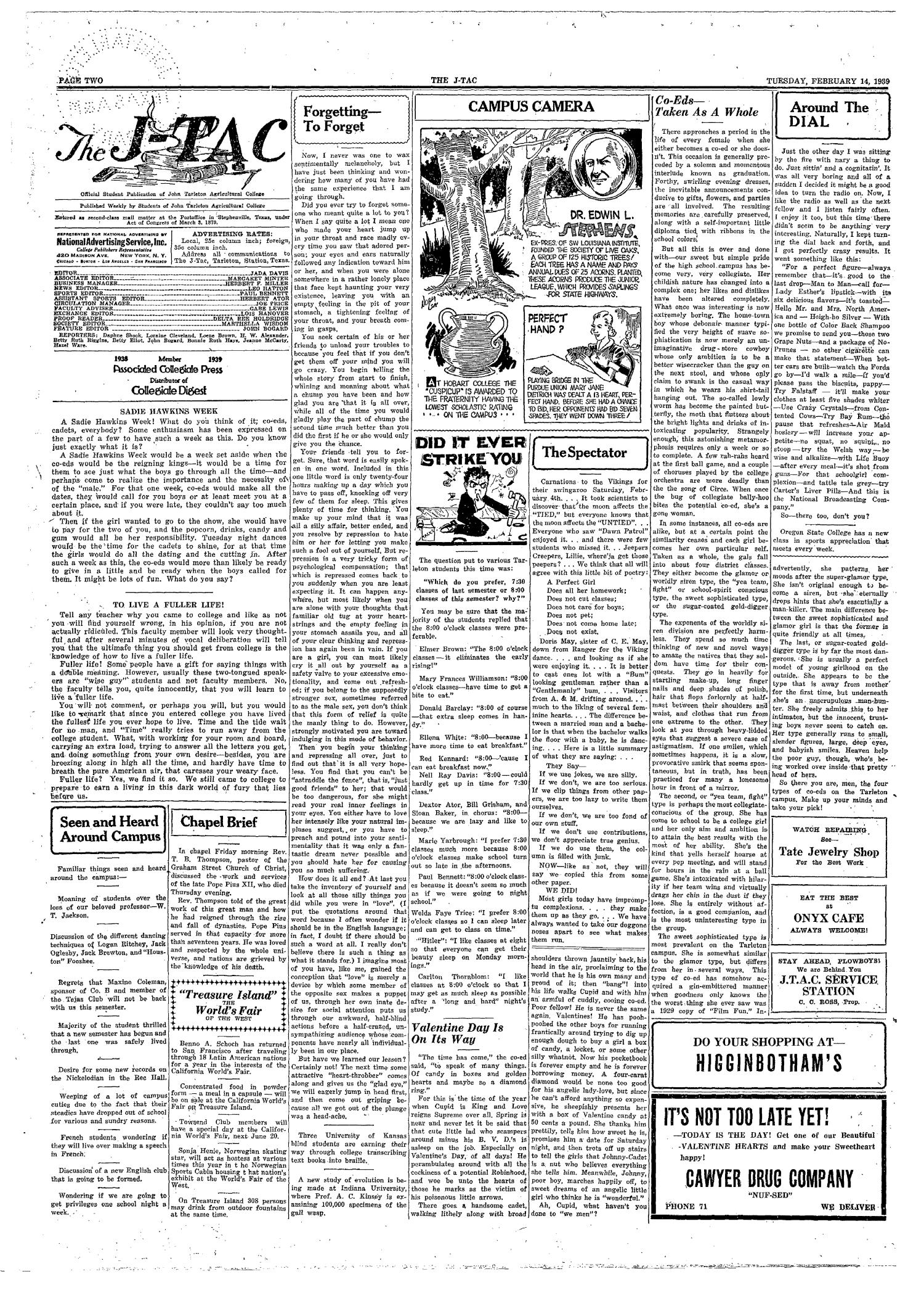 The J-TAC (Stephenville, Tex.), Vol. 18, No. 22, Ed. 1 Tuesday, February 14, 1939                                                                                                      [Sequence #]: 2 of 4