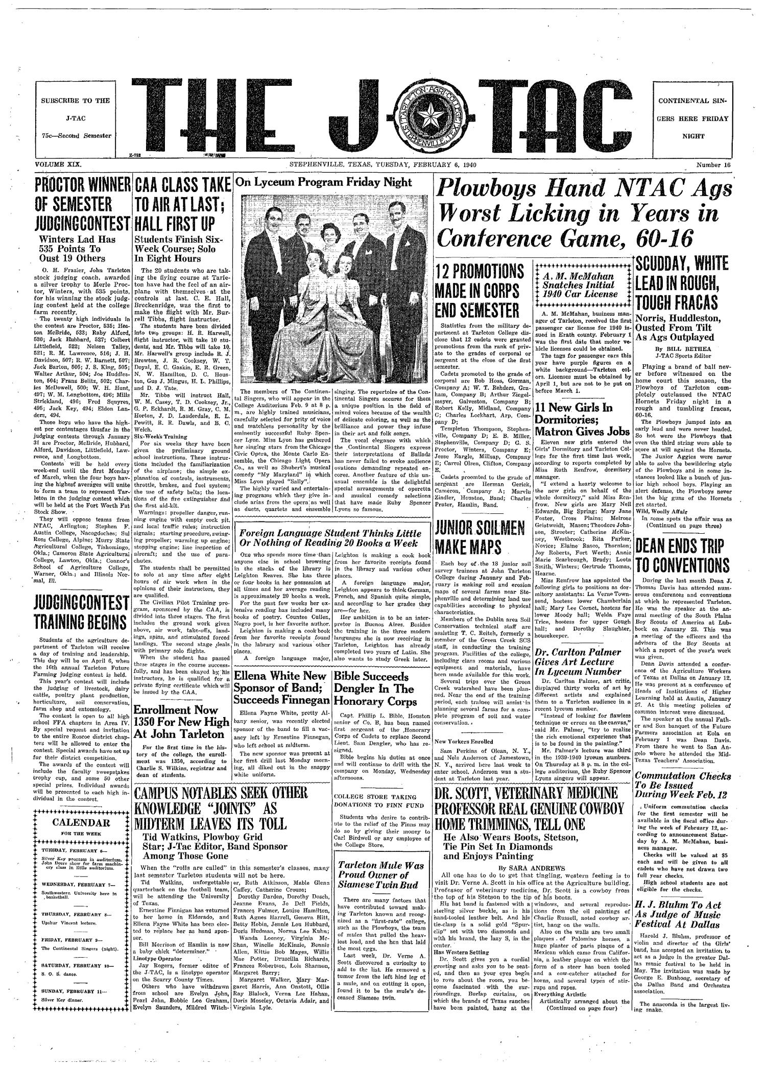 The J-TAC (Stephenville, Tex.), Vol. 19, No. 16, Ed. 1 Tuesday, February 6, 1940                                                                                                      [Sequence #]: 1 of 4