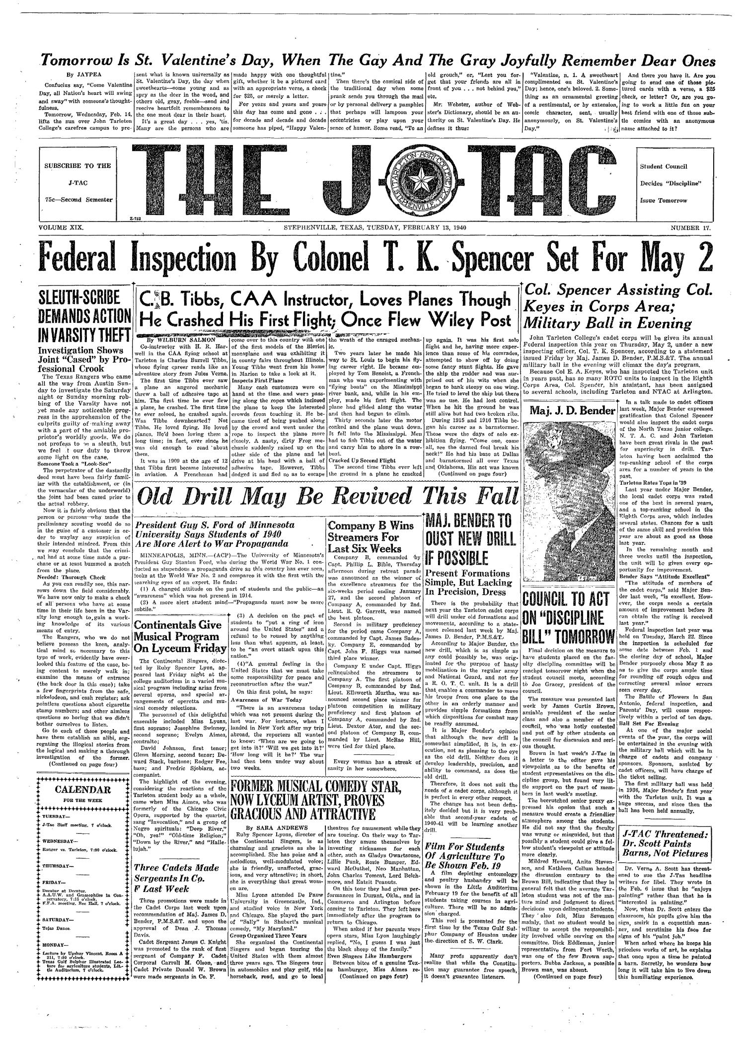 The J-TAC (Stephenville, Tex.), Vol. 19, No. 17, Ed. 1 Tuesday, February 13, 1940                                                                                                      [Sequence #]: 1 of 4