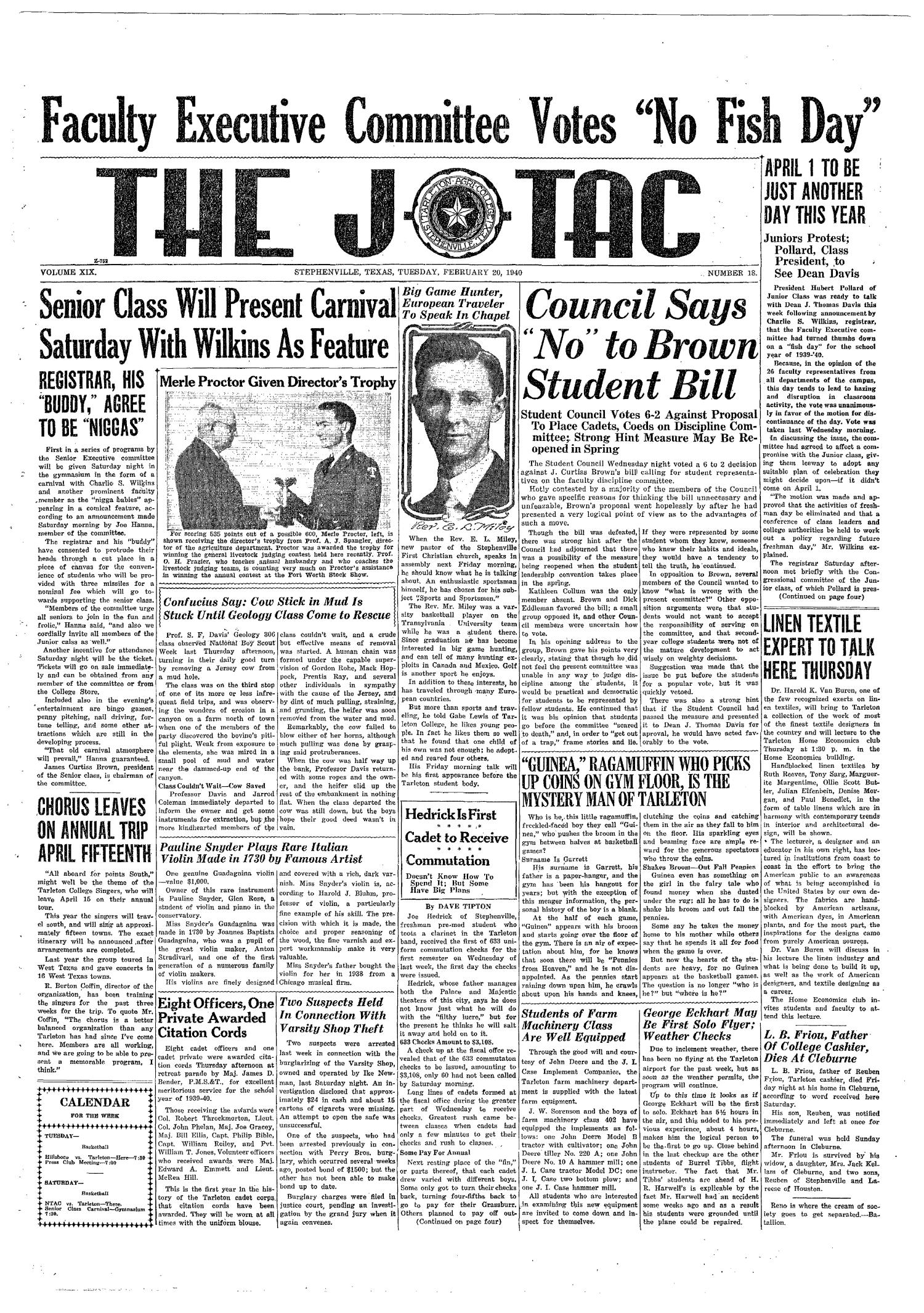 The J-TAC (Stephenville, Tex.), Vol. 19, No. 18, Ed. 1 Tuesday, February 20, 1940                                                                                                      [Sequence #]: 1 of 4