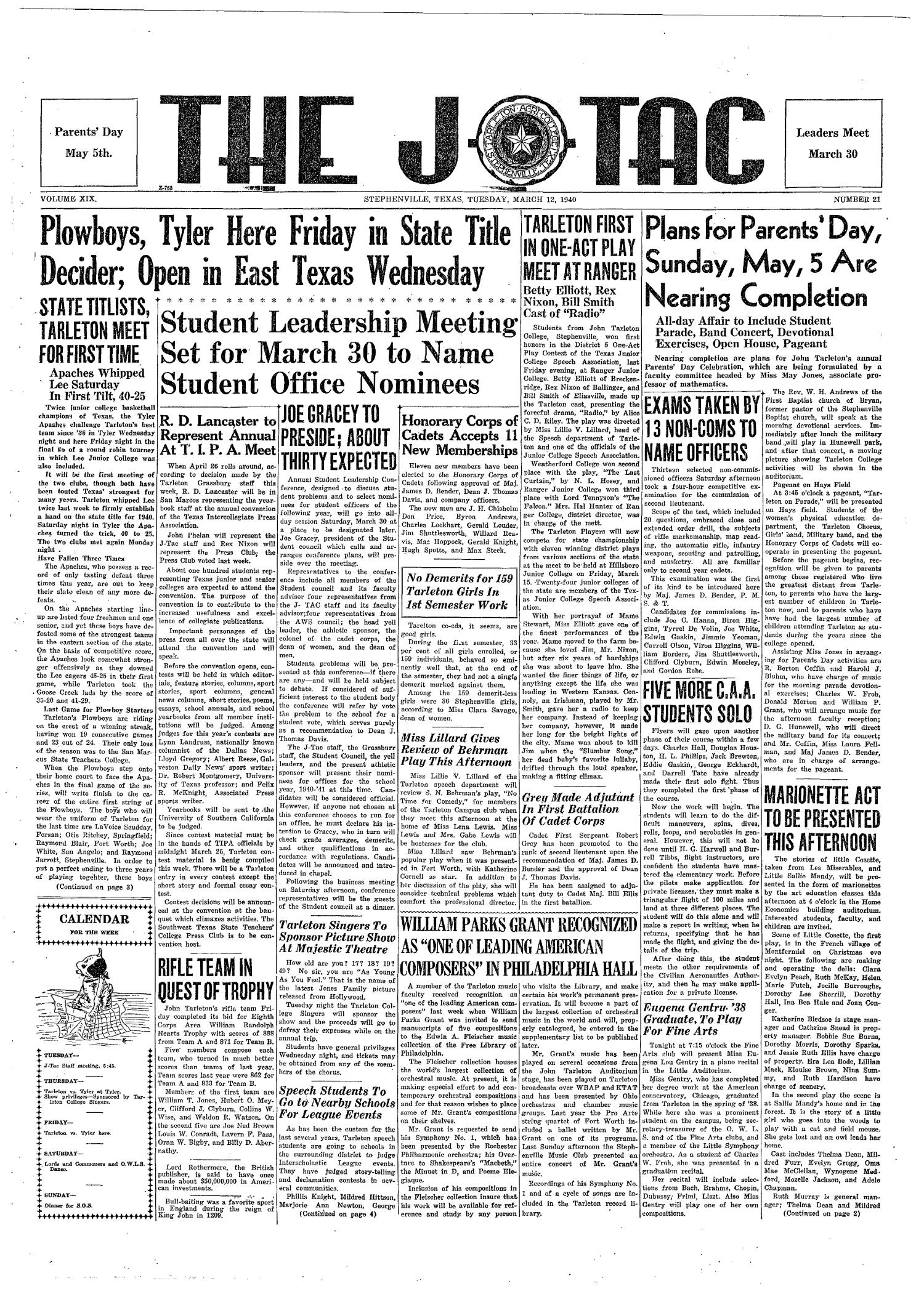 The J-TAC (Stephenville, Tex.), Vol. 19, No. 21, Ed. 1 Tuesday, March 12, 1940                                                                                                      [Sequence #]: 1 of 4