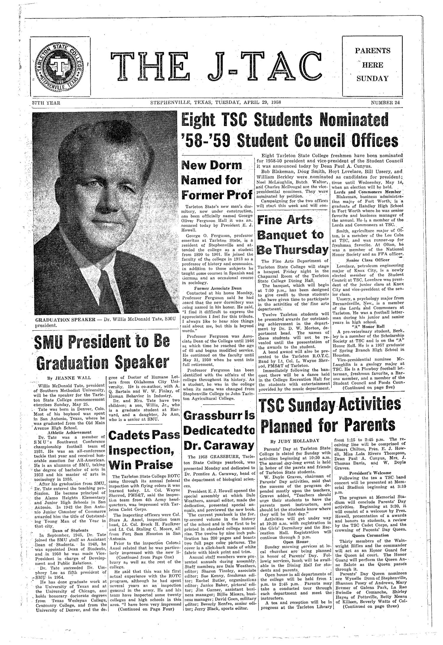 The J-TAC (Stephenville, Tex.), Vol. 37, No. 24, Ed. 1 Tuesday, April 29, 1958                                                                                                      [Sequence #]: 1 of 8