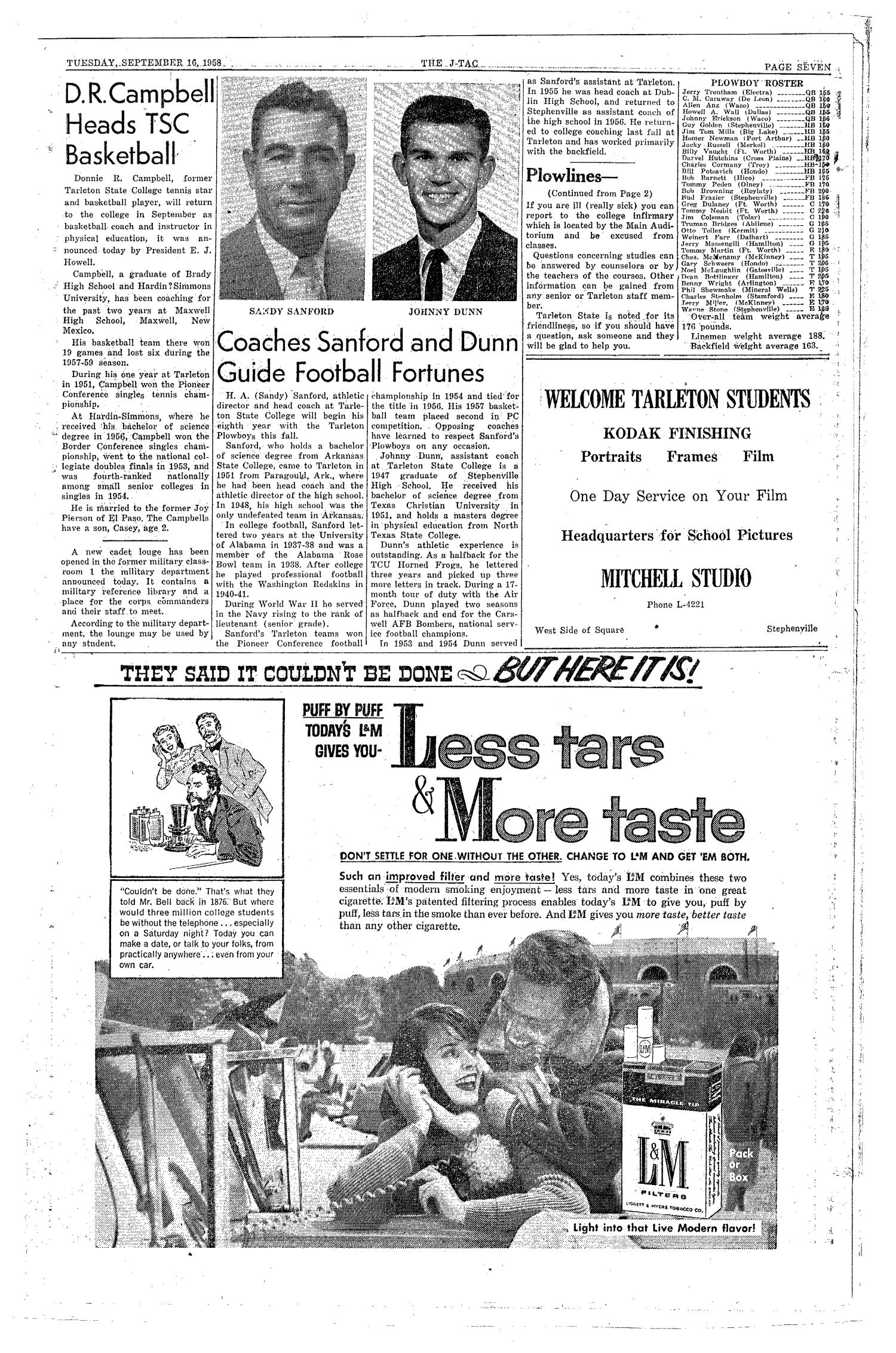 The J-TAC (Stephenville, Tex.), Vol. 38, No. 1, Ed. 1 Tuesday, September 16, 1958                                                                                                      [Sequence #]: 7 of 8