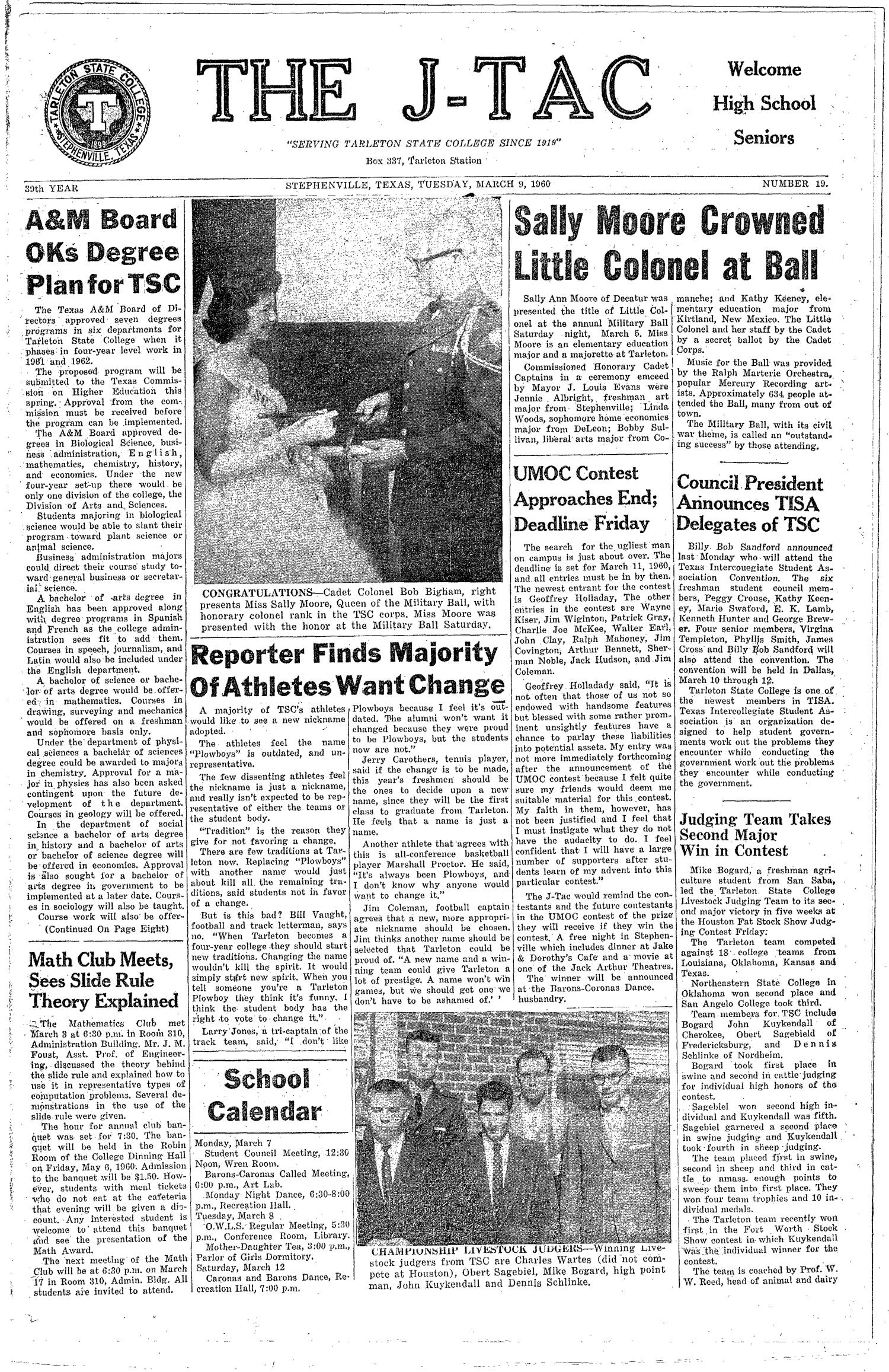 The J-TAC (Stephenville, Tex.), Vol. 39, No. 19, Ed. 1 Tuesday, March 8, 1960                                                                                                      [Sequence #]: 1 of 8