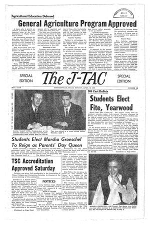 Primary view of object titled 'The J-TAC (Stephenville, Tex.), Vol. 44, No. 22, Ed. 1 Monday, April 12, 1965'.