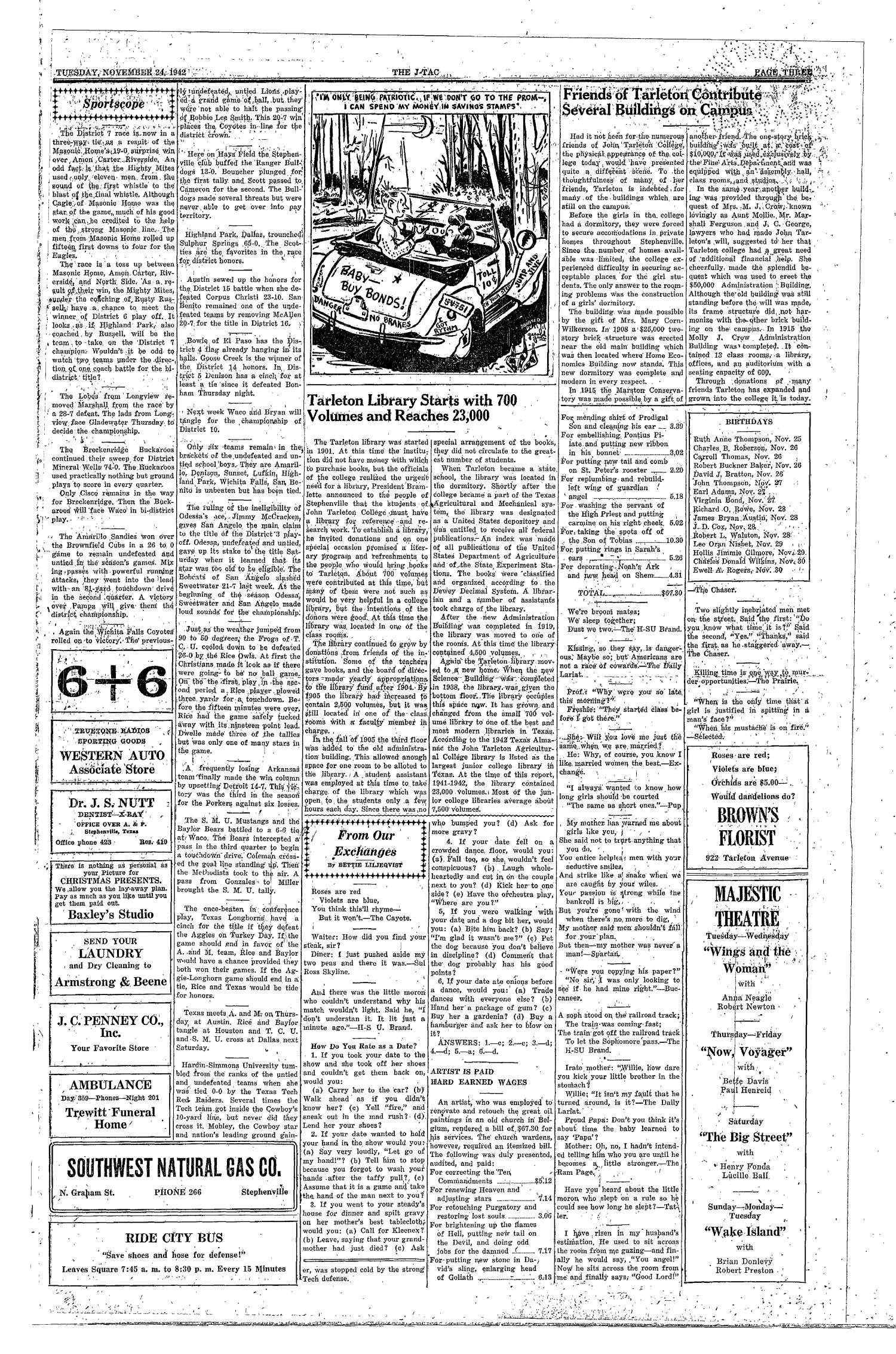 The J-TAC (Stephenville, Tex.), Vol. 22, No. 8, Ed. 1 Tuesday, November 24, 1942                                                                                                      [Sequence #]: 3 of 4