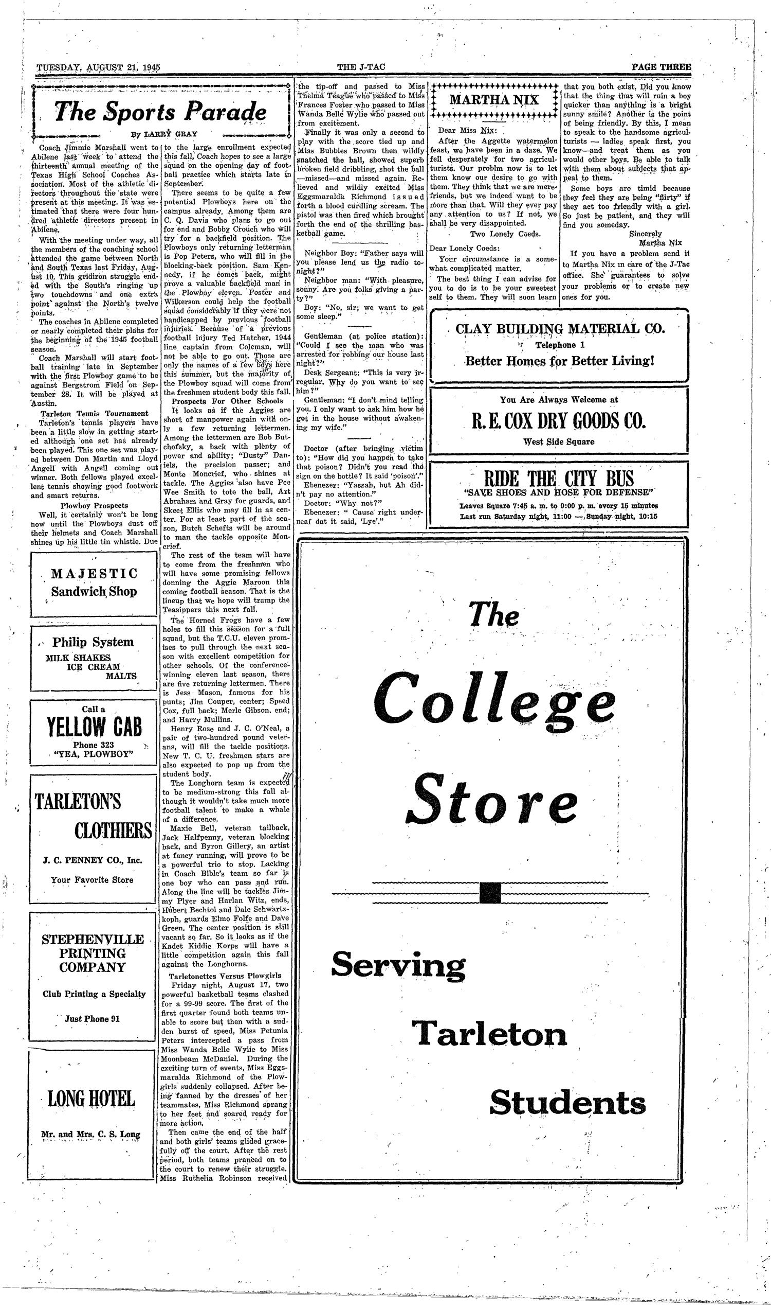 The J-TAC (Stephenville, Tex.), Vol. 25, No. 22, Ed. 1 Tuesday, August 21, 1945                                                                                                      [Sequence #]: 3 of 4