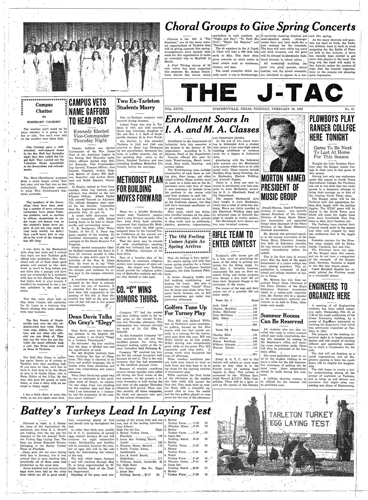 The J-TAC (Stephenville, Tex.), Vol. 27, No. 21, Ed. 1 Tuesday, February 18, 1947                                                                                                      [Sequence #]: 1 of 4
