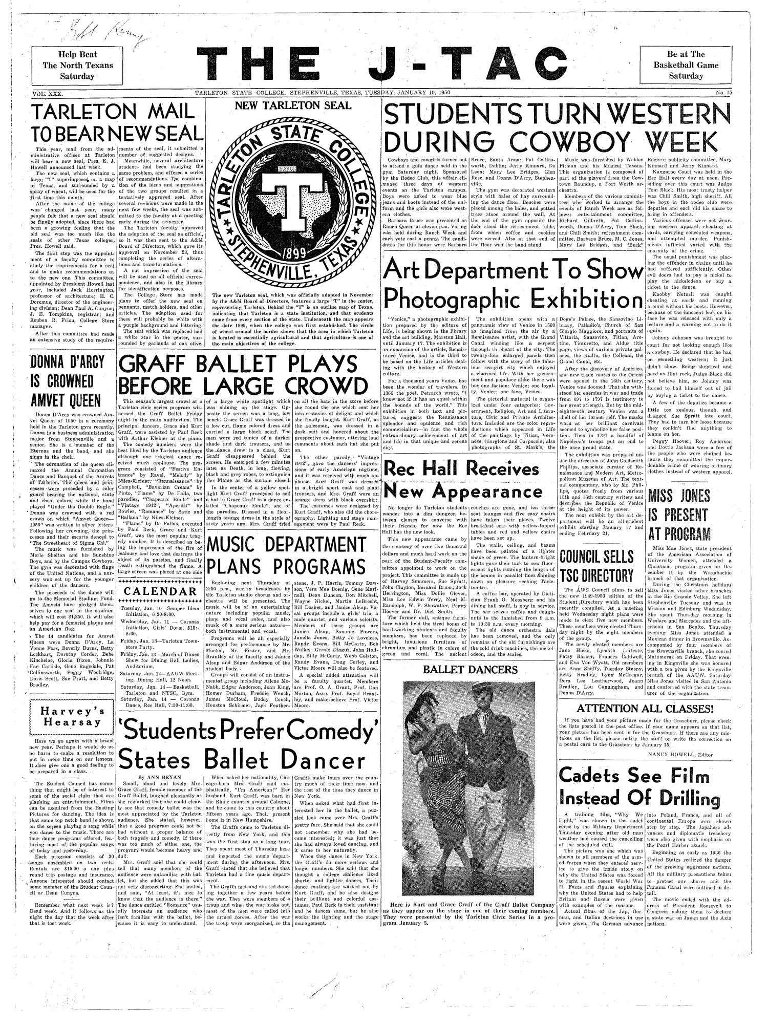 The J-TAC (Stephenville, Tex.), Vol. 30, No. 15, Ed. 1 Tuesday, January 10, 1950                                                                                                      [Sequence #]: 1 of 4