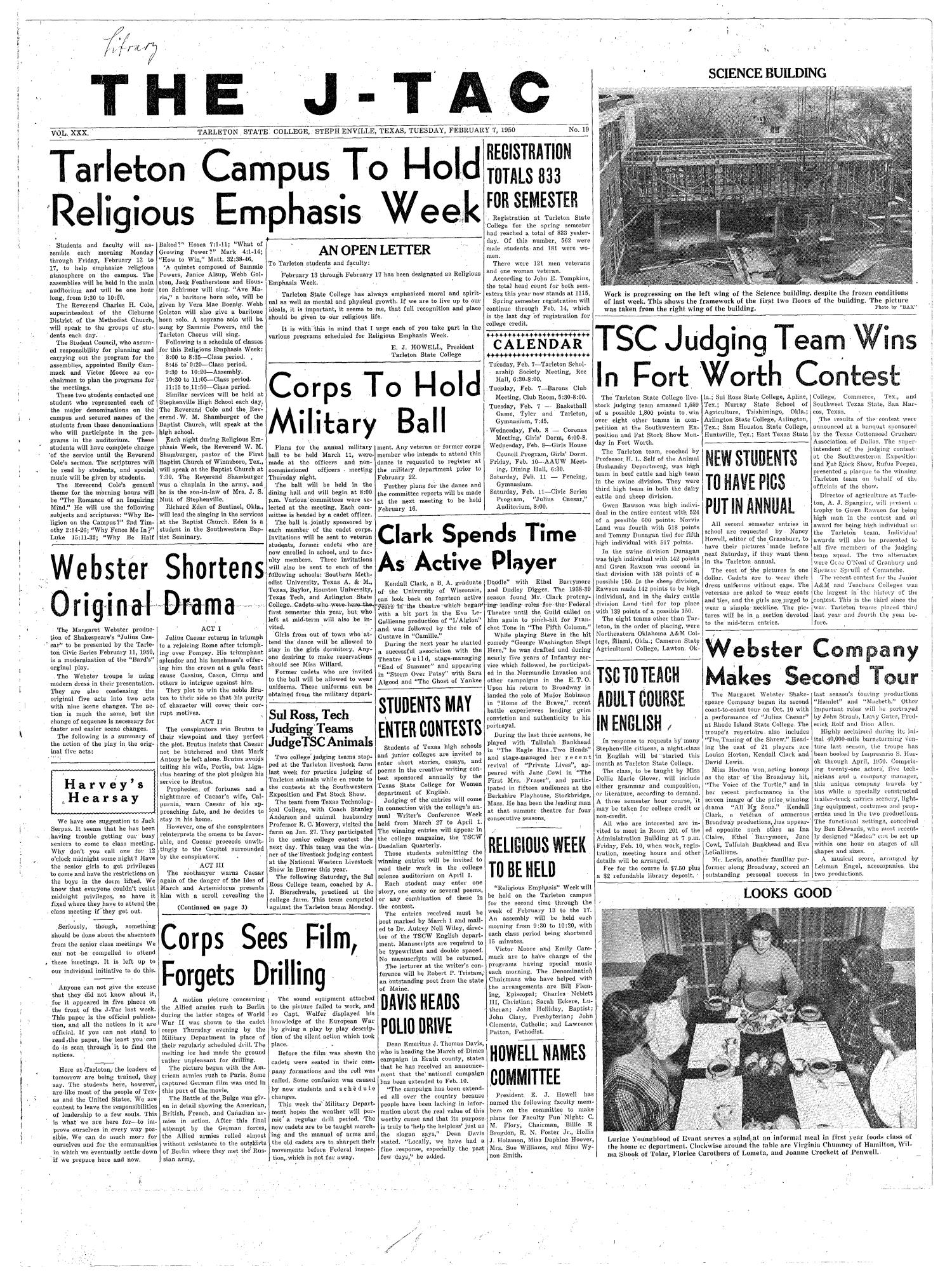 The J-TAC (Stephenville, Tex.), Vol. 30, No. 19, Ed. 1 Tuesday, February 7, 1950                                                                                                      [Sequence #]: 1 of 4