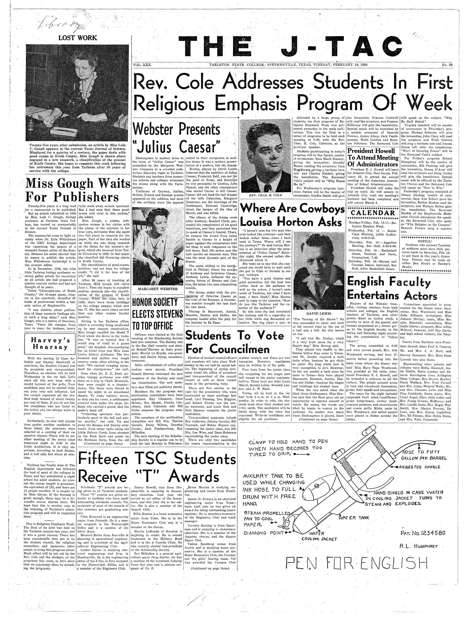 The J-TAC (Stephenville, Tex.), Vol. 30, No. 20, Ed. 1 Tuesday, February 14, 1950                                                                                                      [Sequence #]: 1 of 4