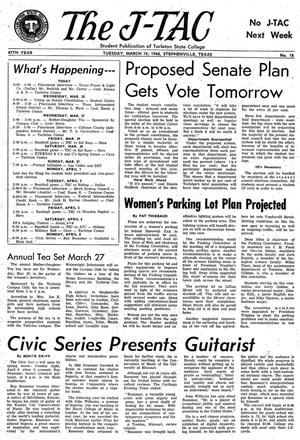 Primary view of The J-TAC (Stephenville, Tex.), Vol. 47, No. 18, Ed. 1 Tuesday, March 19, 1968