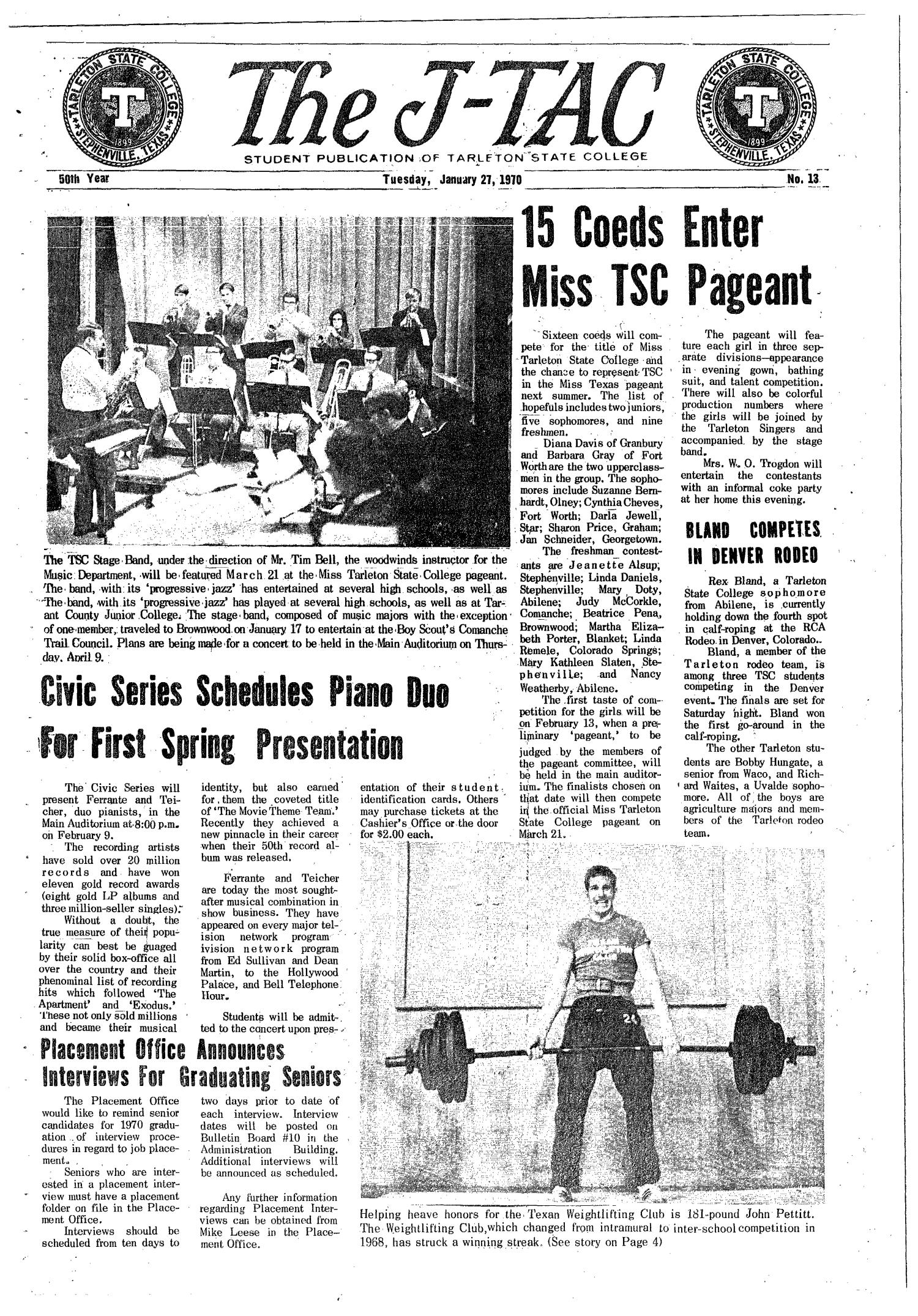 The J-TAC (Stephenville, Tex.), Vol. 50, No. 13, Ed. 1 Tuesday, January 27, 1970                                                                                                      [Sequence #]: 1 of 8