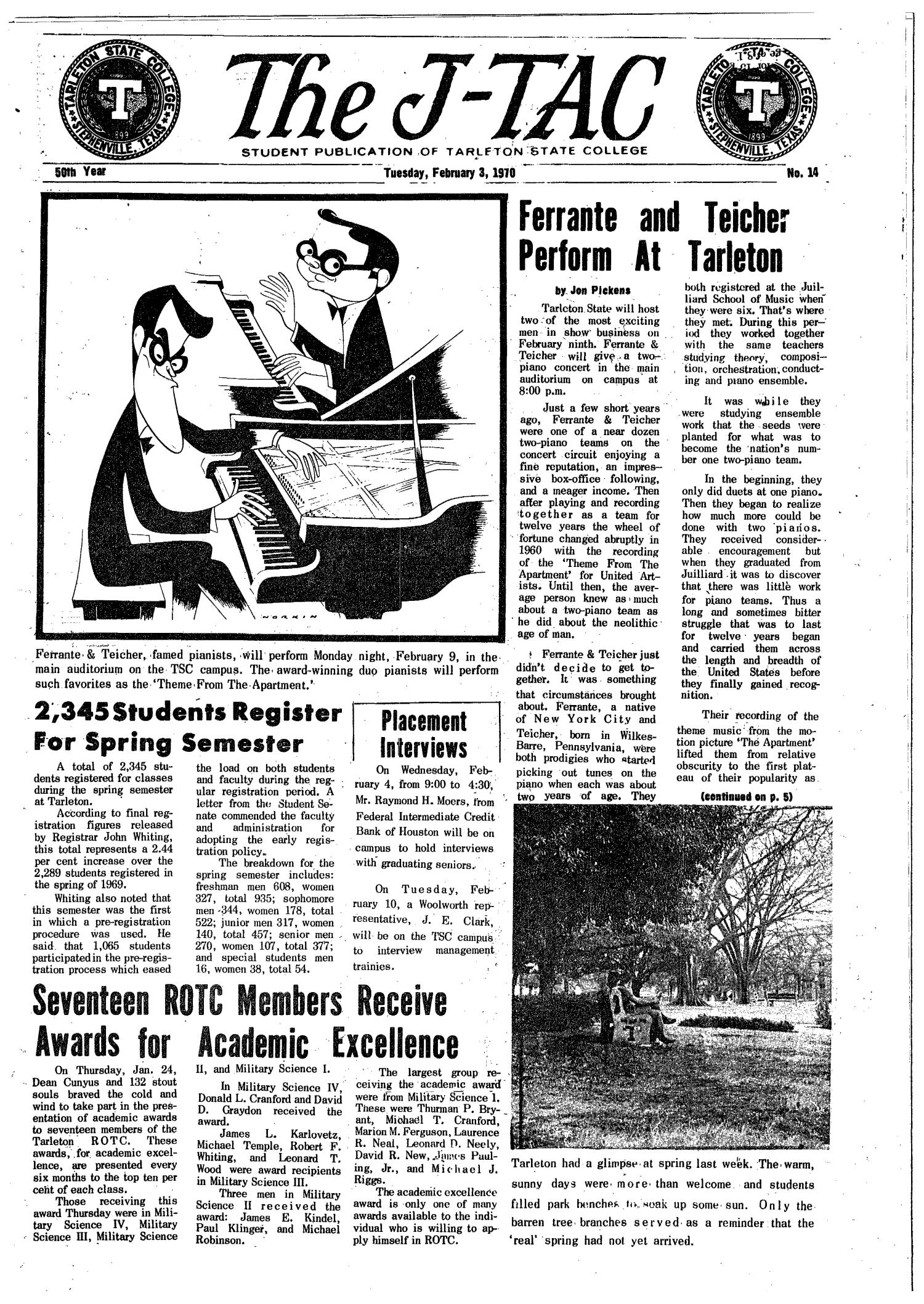 The J-TAC (Stephenville, Tex.), Vol. 50, No. 14, Ed. 1 Tuesday, February 3, 1970                                                                                                      [Sequence #]: 1 of 12