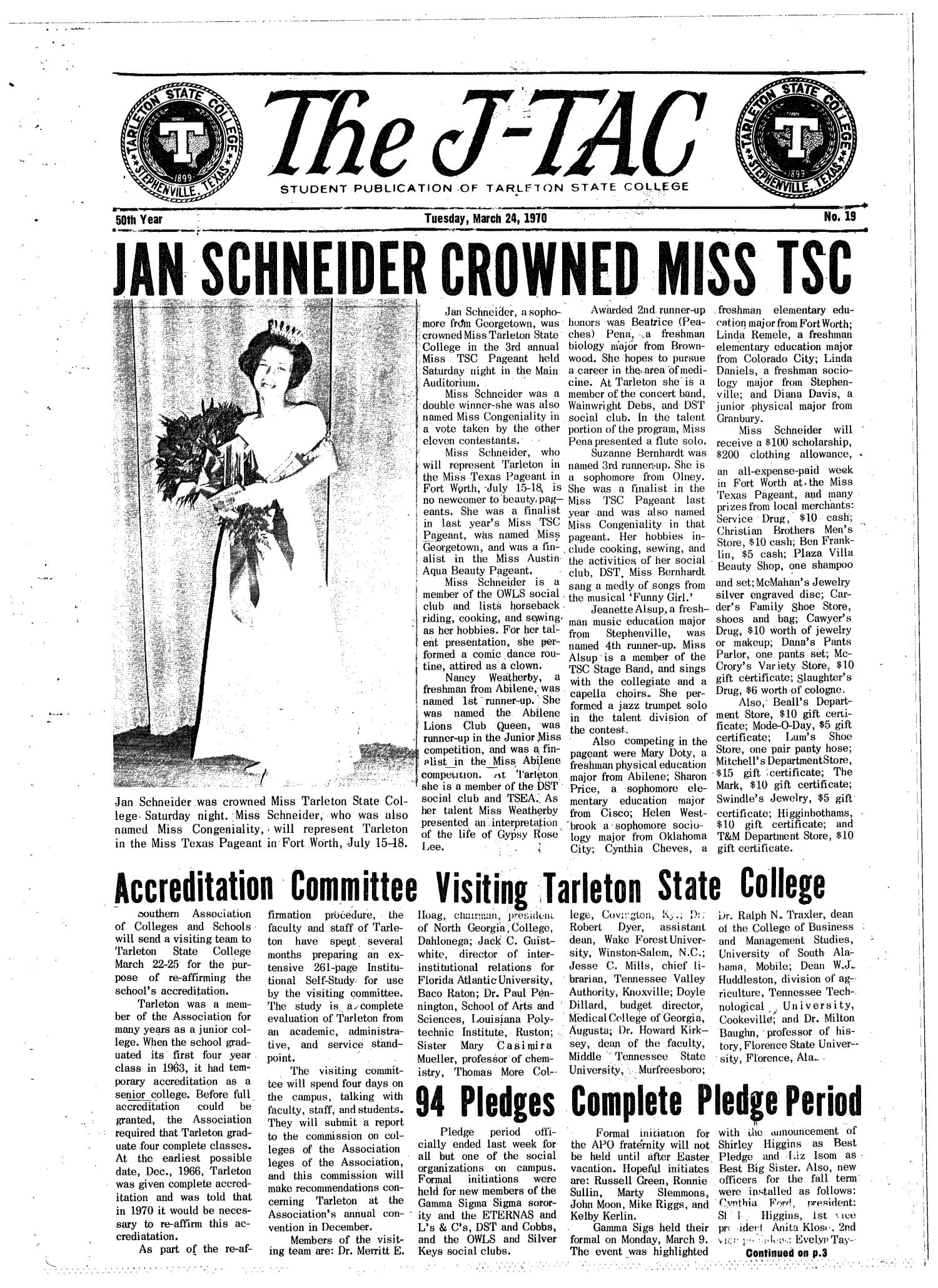 The J-TAC (Stephenville, Tex.), Vol. 50, No. 19, Ed. 1 Tuesday, March 24, 1970                                                                                                      [Sequence #]: 1 of 8