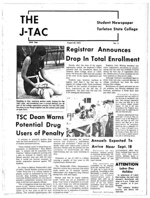 Primary view of object titled 'The J-TAC (Stephenville, Tex.), Vol. 53, No. 2, Ed. 1 Wednesday, August 30, 1972'.