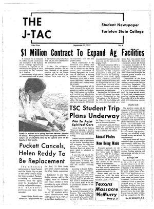 Primary view of object titled 'The J-TAC (Stephenville, Tex.), Vol. 53, No. 4, Ed. 1 Wednesday, September 13, 1972'.