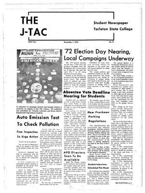 Primary view of object titled 'The J-TAC (Stephenville, Tex.), Vol. 53, No. 9, Ed. 1 Wednesday, November 1, 1972'.