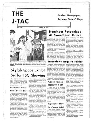 Primary view of object titled 'The J-TAC (Stephenville, Tex.), Vol. 53, No. 17, Ed. 1 Wednesday, February 14, 1973'.