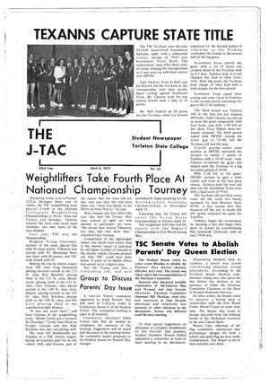 Primary view of object titled 'The J-TAC (Stephenville, Tex.), Vol. 53, No. 22, Ed. 1 Wednesday, April 4, 1973'.