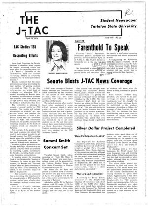 Primary view of object titled 'The J-TAC (Stephenville, Tex.), Vol. 54, No. 20, Ed. 1 Wednesday, April 10, 1974'.